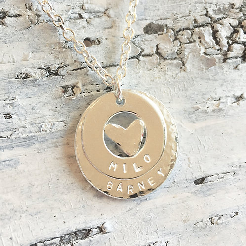 Personalised large sterling silver washer necklace with hand cut heart