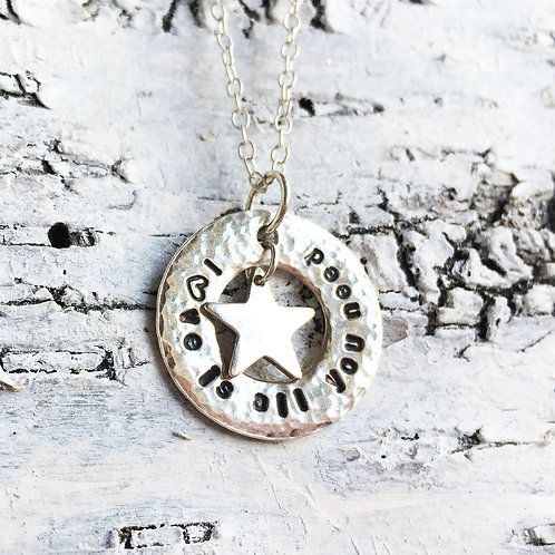 Love is all you need sterling silver washer and star