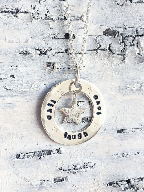 Live laugh Love Sterling Silver Washer