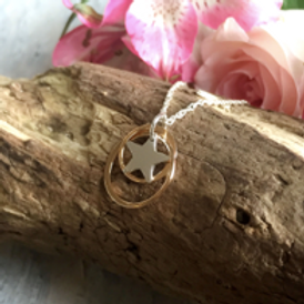 Rose gold duo circle with sterling silver star