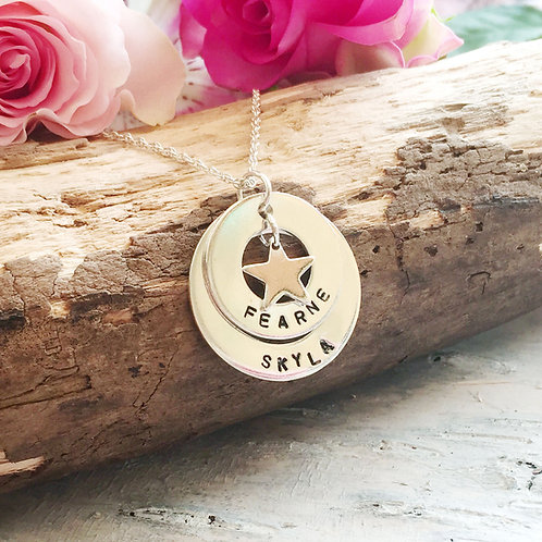 Personalised large sterling silver washer and star