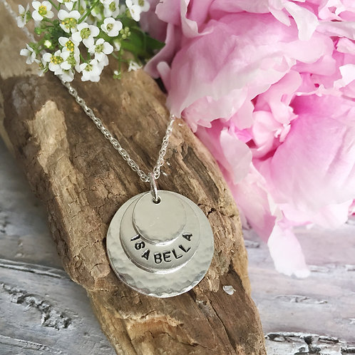 Personalised sterling silver trio necklace