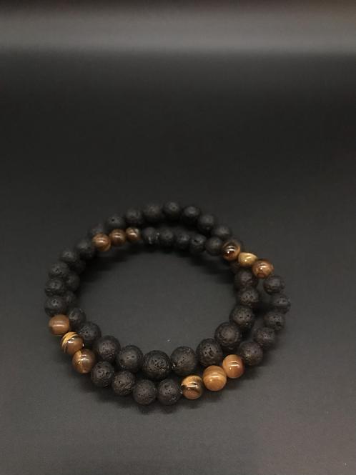 Lava & Tiger's Eye Stretch Bearded Bracelet