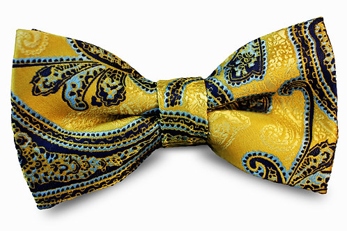 Dark Yellow and Blue Paisley