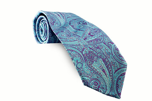 Light Turquoise and Purple Paisley