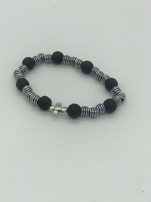 Black Lava & Silver Beaded Bracelet