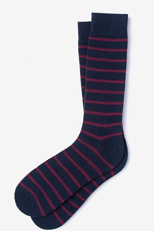 Navy & Burgundy Striped Sock