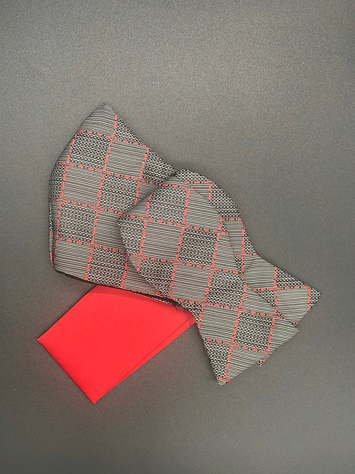 Black and Red Self Tie Bow Tie Set with Face Mask