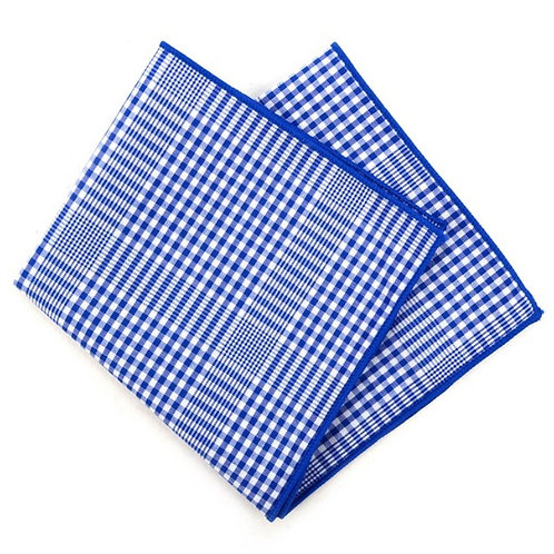 Royal Blue Checkered Plaid Pocket Square