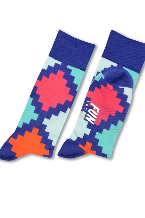 Geo Check Fun Socks