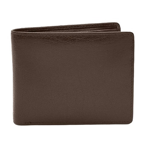Leather Bi-fold Men's Wallet with Flip-Up I.D. Holder