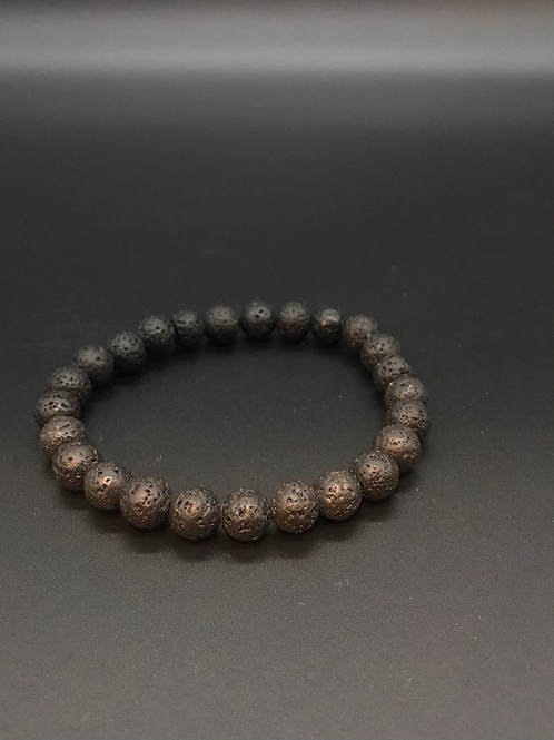 Black Lava Stretch Beaded Bracelet