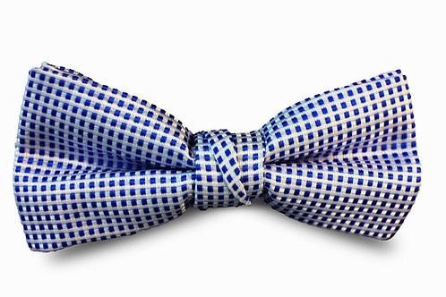 Blue and White Bow Tie and Pocket Square