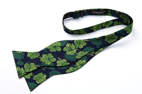 Black & Green Flower Bow Tie with Pocket Square
