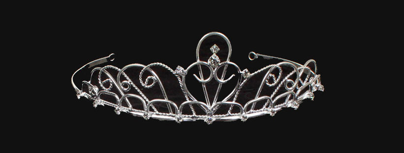 silver coloured scroll tiara