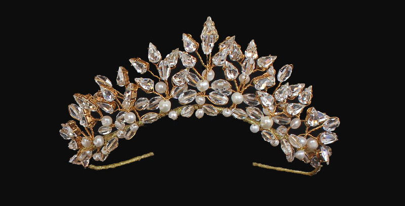 gold tone wedding tiara