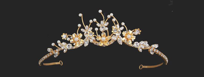 faux pearl and crystal tiara