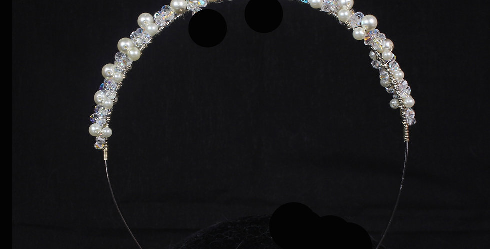 pearl and crystal childs wedding headband