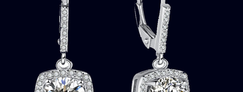 cubic zirconia  square wedding earrings