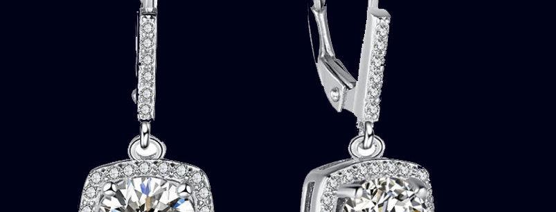 cubic zirconia  square wedding earrings