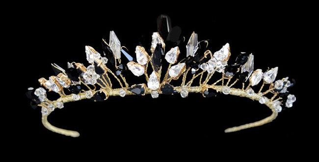 crystal jet wedding  tiara