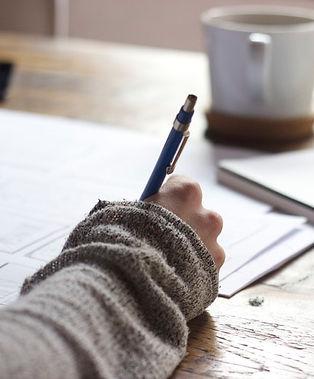 Hand close up writing