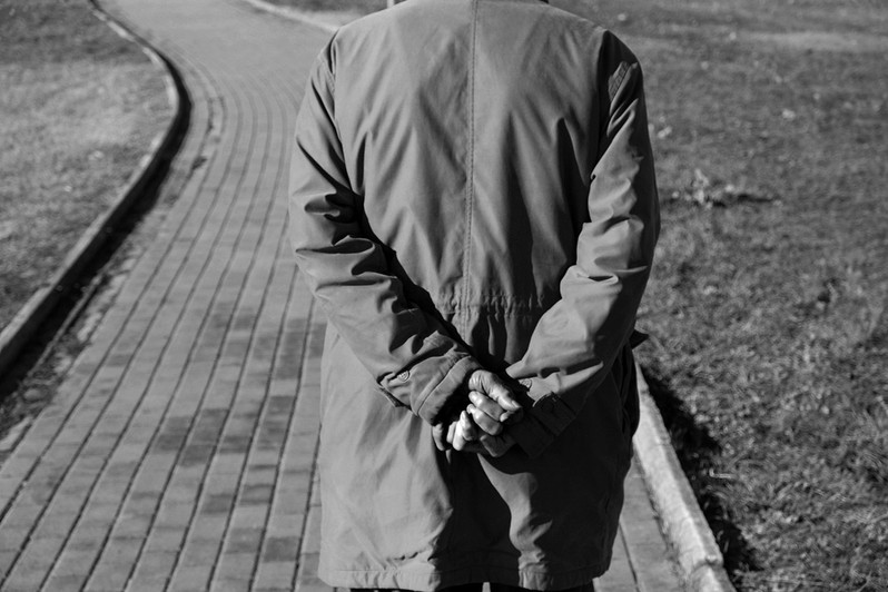 My father`s path. I was following my father`s steps in his long walk at the outskirts of the city. I was wacthing his curved back, his hands, his crossed fingers. I was following his aging body, his aging mind. He was like a mirror for my own process of aging, of stepping in (and out of) time. © DIMITRIOS GIOVIS