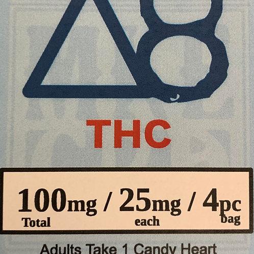 Delta 8 Candy Hearts, 100mg, 4pc