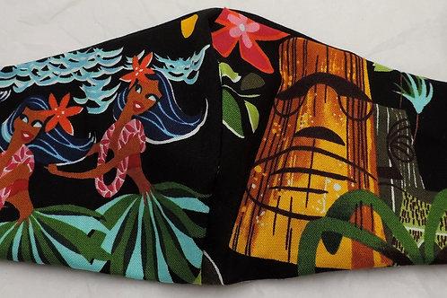 "15"" Teaki and Hula girls , fabric mask"