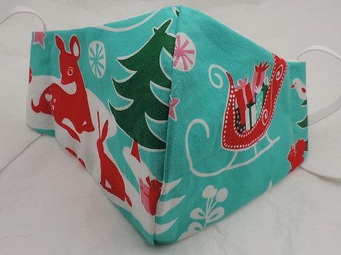 """14"""" retro design Christmas fabric mask"""