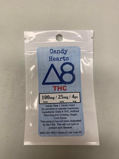 Delta 8 Candy Hearts.  100mg / 4pc