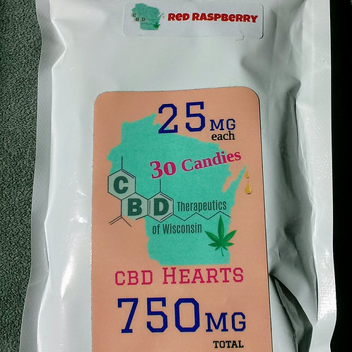 750mg Candy Hearts 30 Piece
