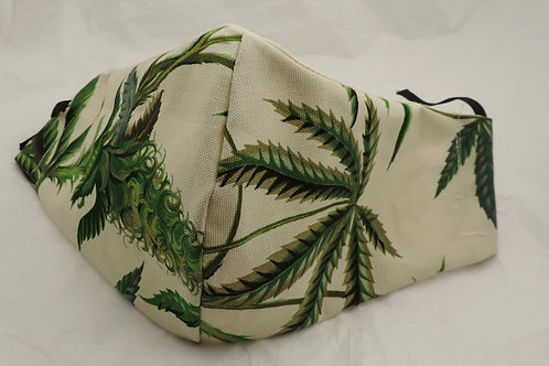 "16"" Hemp Leaf pattern fabric mask"