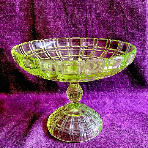 Uranium  Vaseline Glass Pedestal compote