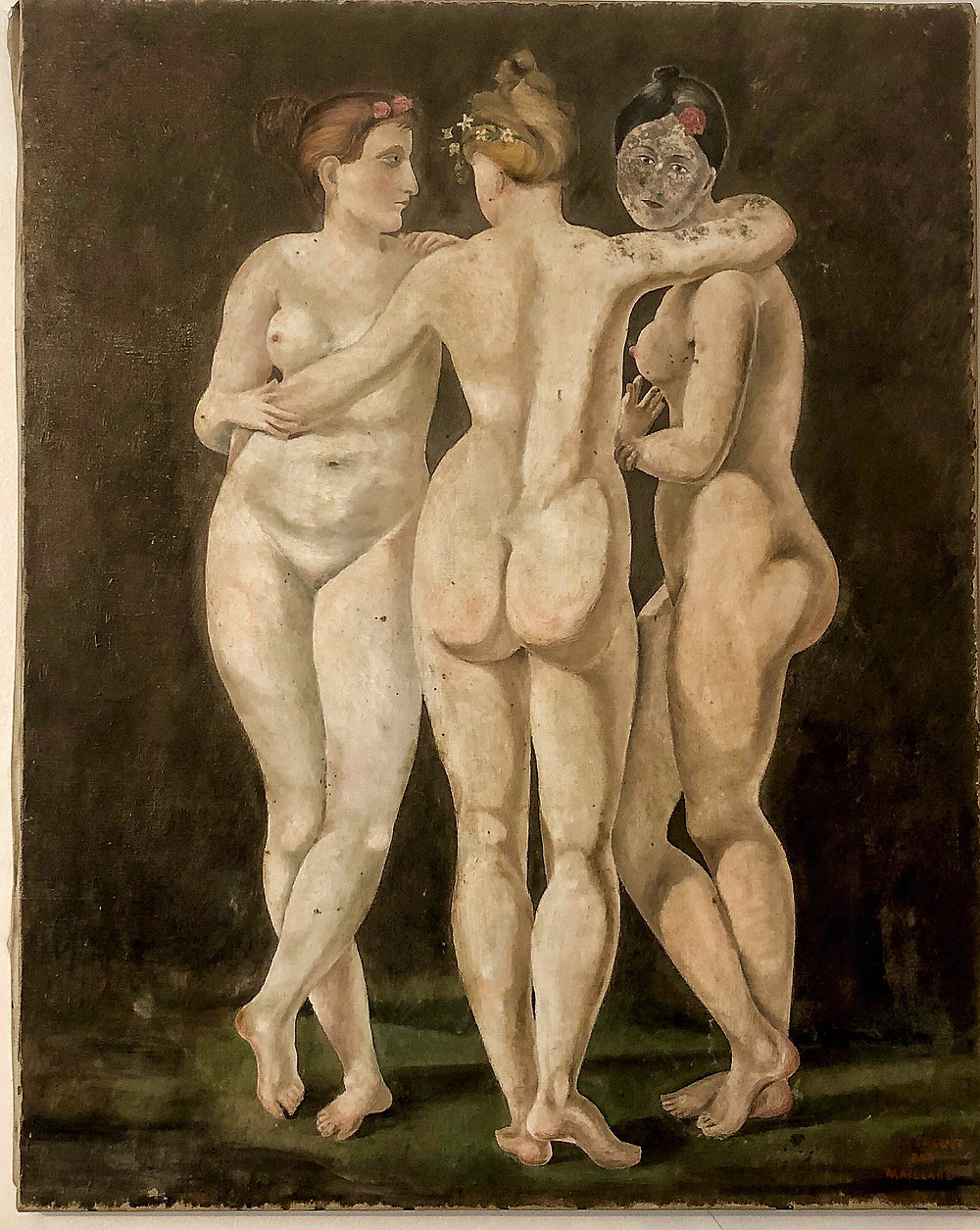 Student copy of Three Graces by Regnault in the Louvre
