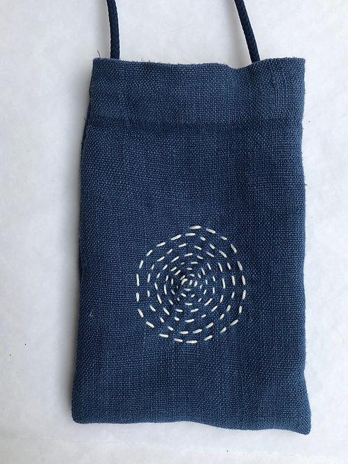 Indigo Blue Linen Phone Pocket 2