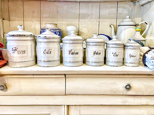 Six vintage French kitchen canisters