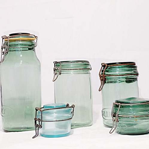 Vintage Green French Canning Jars