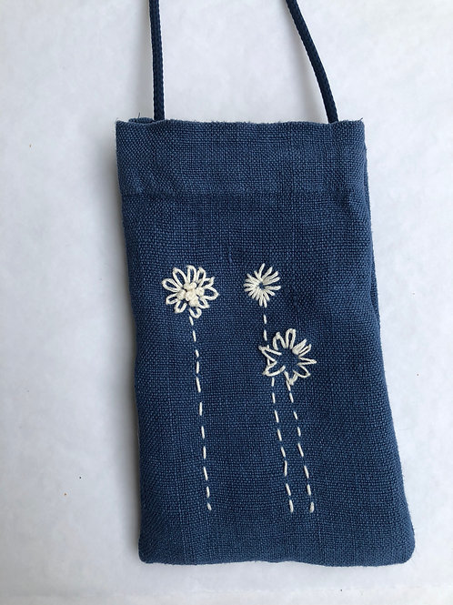 Indigo Blue Linen Phone Pocket