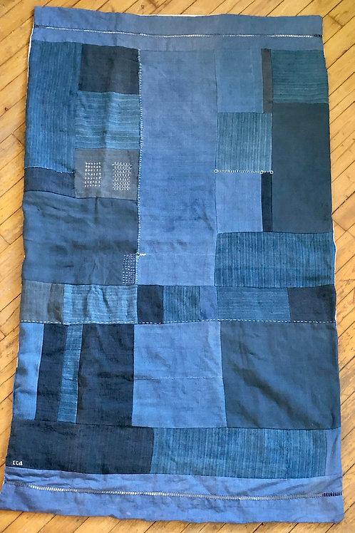 Indigo blue patchwork quilt