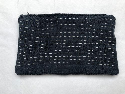 Sashiko Linen Zippered Pouch