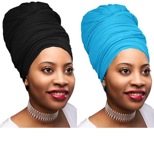 2 Pcs Black and Teal Blue Solid Color Head Wrap Stretch Long Hair Scarf Turban