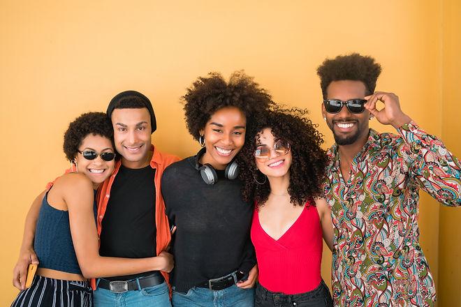Portrait of Afro friends having fun toge