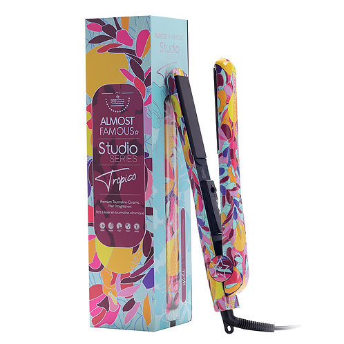 "Almost Famous 1.25"" Tropico Studio Flat Iron with Waterprint Design"