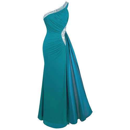 Women's Elegant Evening Dresses Beading One shoulder Pleated Slit Maxi