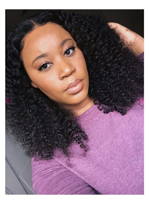 Kinky Curly Glueless 360 Lace Frontal Wig Pre-Plucked Indian Virgin