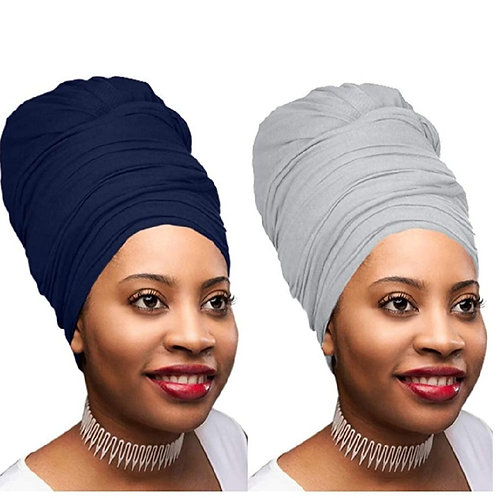 2 Pcs Navy Blue and Heather Grey Solid Color Head Wrap Stretch Long Hair Turban