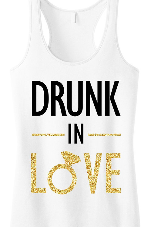 DRUNK IN LOVE Bride Gold Glitter White Tank Top