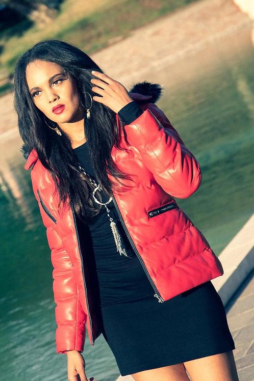 Women's Striking Puffer Arctic Red Down 100% Lambskin Leather Jacket