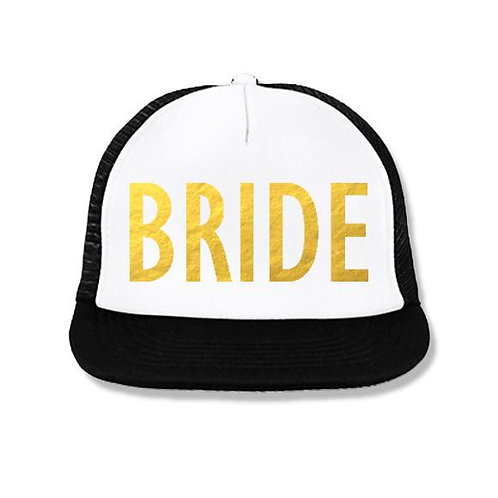 BRIDE Snapback Trucker Hat White with Gold Foil